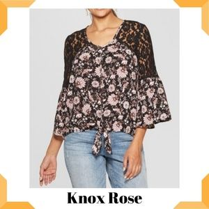 Floral Long Sleeve Tie Front Button-Down Shirt